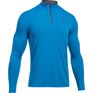 Under Armour Men's Threadborne Fitted 1/4 Zip Fleece - Blue/Grey