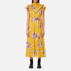 Coach Women's Daisy Print Pieced Raglan Dress - Mustard