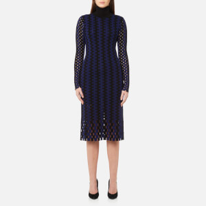 Diane von Furstenberg Women's Long Sleeve Turtleneck Knit Midi Dress - Black/Deep Violet
