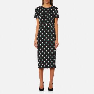 Diane von Furstenberg Women's Short Sleeve Crew Neck Dress - Casimir Dot Black