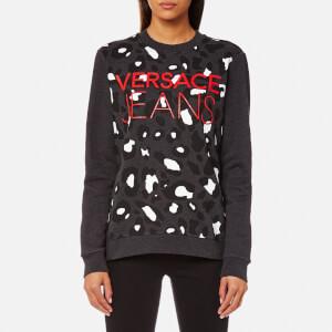 Versace Jeans Women's Logo Leopard Print Sweatshirt - Grey