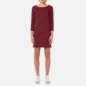 Joules Women's Riviera 3/4 Sleeve Jersey Dress - Navy Red Stripe