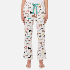 Joules Women's Snooze Woven Pyjama Bottoms - Cream Dogs