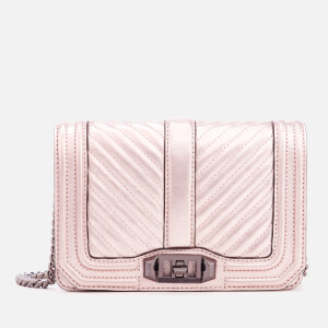 Rebecca Minkoff Women's Chevron Quilted Small Love Cross Body Bag - Metallic Lilac