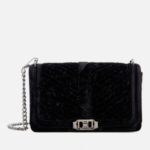 Rebecca Minkoff Women's Chevron Velvet Quilted Love Cross Body Bag - Black