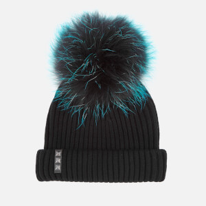 BKLYN Women's Merino Wool Hat with Tiffany Pom Pom - Black