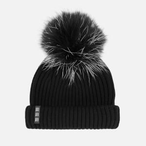BKLYN Women's Merino Wool Hat with Black/White Pom Pom - Black