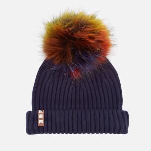 BKLYN Women's Merino Wool Hat with Rainbow Pom - Navy