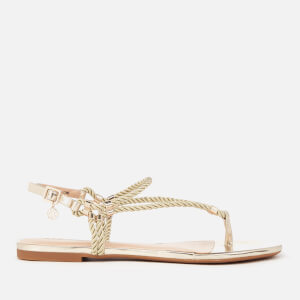Armani Exchange Women's Rope T-Bar Sandals - Light Gold/Champagne