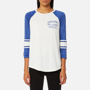 Superdry Women's Tri League Baseball Top - Off White/Dazzle Blue