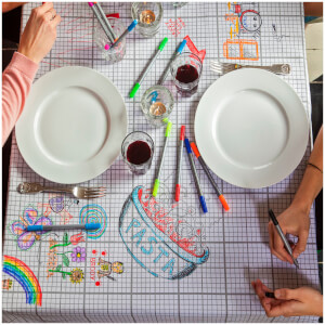 Doodle Tablecloth with 10 Wash Out Pens
