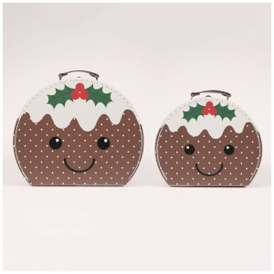 Sass & Belle Set Of 2 Christmas Pudding Suitcases