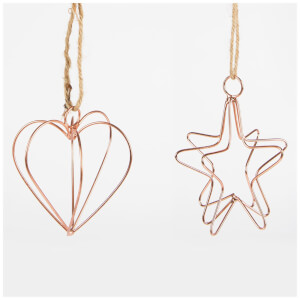 Sass & Belle Wire Lines Copper Heart & Star Hanging Decoration