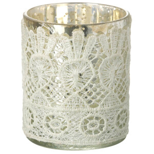 Parlane Lacey Glass Tealight Holder (9 x 7cm) - White
