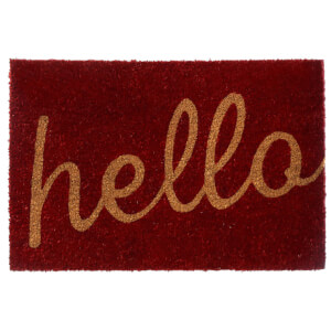 Premier Housewares Hello Doormat - Red/Natural