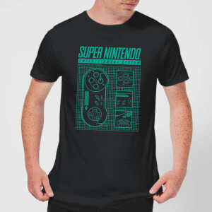 T-Shirt Super Nintendo Entertainment System Blueprint - Nero