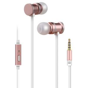 AV: Link Metallic Magnetic Stereo Noise Cancelling Earphones with Tangle Free Cable - Rose Gold