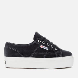 Superga Women's 2790 Velvetw Flatform Trainers - Dark Grey