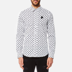 Versus Versace Men's Printed Long Sleeve Shirt - White/Black