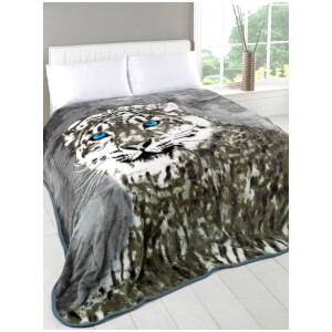 Dreamscene Snow Leopard Faux Fur Throw (150 x 200cm)