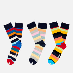 Happy Socks Mens Stripes 3 Pack Socks - Multi - UK 7.5-11.5