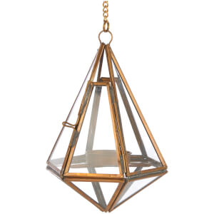 Nkuku Mokomo Hanging Lantern - Antique Brass