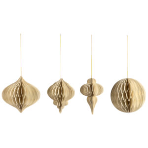 Nkuku Papel Paper Decoration - Cream (Set of 4)