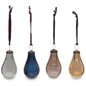 Nkuku Alura Pear Bauble - Multi Colours (Set of 4) - Small