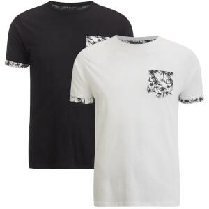 Brave Soul Men's 2 Pack Vine Pocket T-Shirt - Black/White