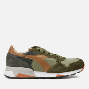 Diadora Heritage Men's Trident 90 Nyl Leather/Perforated Runner Trainers - Burnt Olive/Phantom