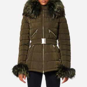 Froccella Women's Mid Belt Big Fur Collar Coat - Khaki/Khaki Fur