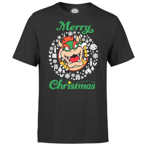 Nintendo® Super Mario Bowser White Wreath Merry Christmas T-Shirt - Schwarz