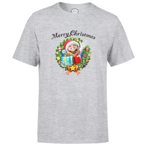 Nintendo® Super Mario Hat Merry Christmas Wreath T-Shirt - Grau