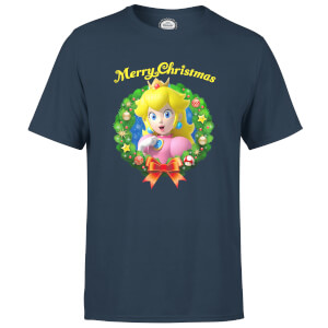 Nintendo Super Mario Peach Merry Christmas Wreath Navy T-Shirt
