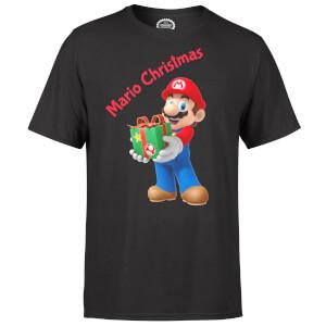 Nintendo® Super Mario Present Merry Christmas T-Shirt - Schwarz