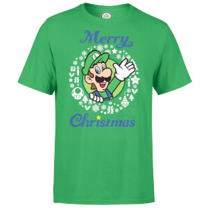 Nintendo Super Mario Luigi White Wreath Merry Christmas Green T-Shirt