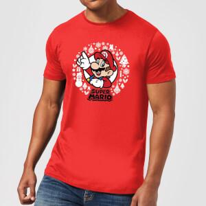 T-Shirt de Noël Super Mario Couronne de Noël - Rouge