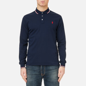 Polo Ralph Lauren Men's Long Sleeve Pima Tipped Polo Shirt - Navy