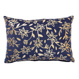 Bloomingville Gold Floral Print Cushion - Blue