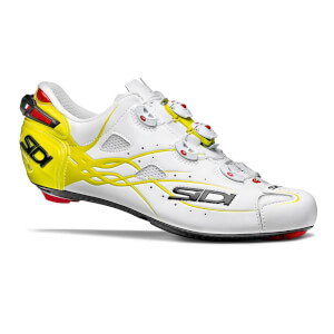 Sidi Shot Matt Carbon Cycling Shoes - White/Yellow Fluo