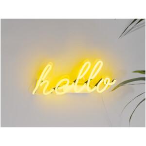 """""""Hello"""" Neon Wandlicht – Gelb"""