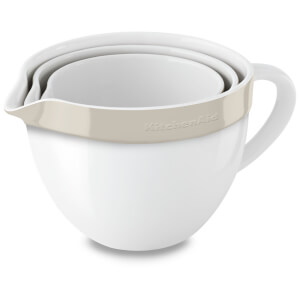 KitchenAid 3 Piece Ceramic Nesting Bowl Set - Almond Cream