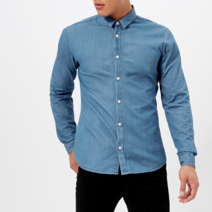 HUGO Men's Ero Long Sleeve Shirt - Denim Wash Blue