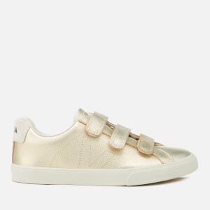 Veja Women's 3 Lock Leather Trainers - Gold
