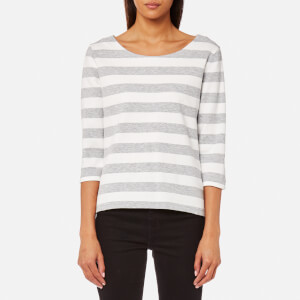 GANT Women's Barstripe Pique 3/4 Sleeve Top - Light Grey Melange