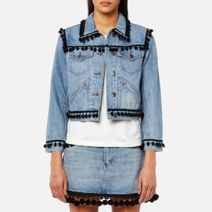 Marc Jacobs Women's Shrunken Jacket with Pom Poms - Vintage Indigo