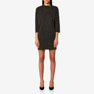Marc Jacobs Women's Mock Neck 3/4 Sleeve Dress with Embellishments - Black/Silver