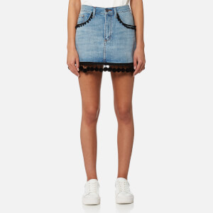 Marc Jacobs Women's Denim Mini Skirt with Pom Poms - Vintage Indigo