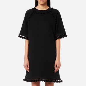 Marc Jacobs Women's Sweatshirt Dress with Pom Poms - Black
