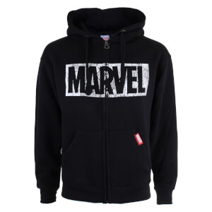 Marvel Men's Logo Distress Zip Hoody - Black